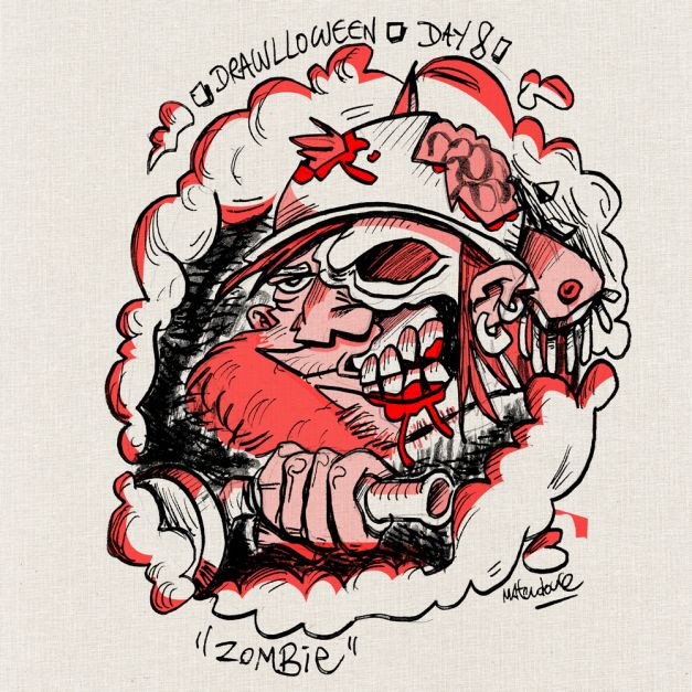 Drawlloween #08 - Zombie biker