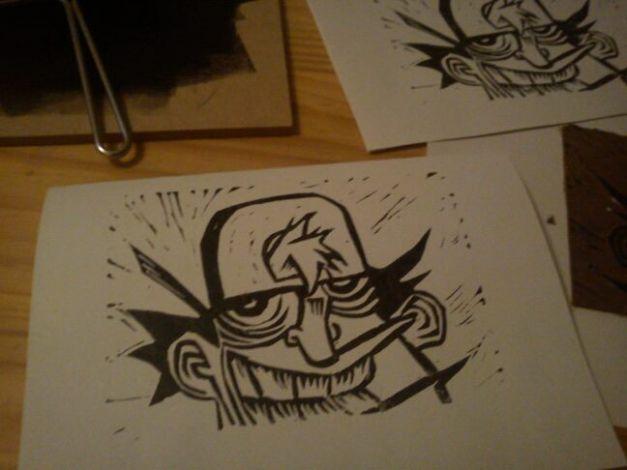 Linogravure d'un mec à casquette